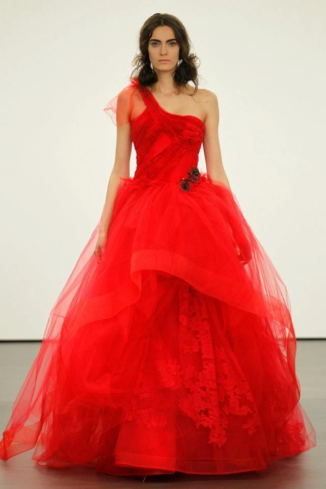 Spring 2012 wedding dresses Vera Wang bridal gown non white dresses red 10