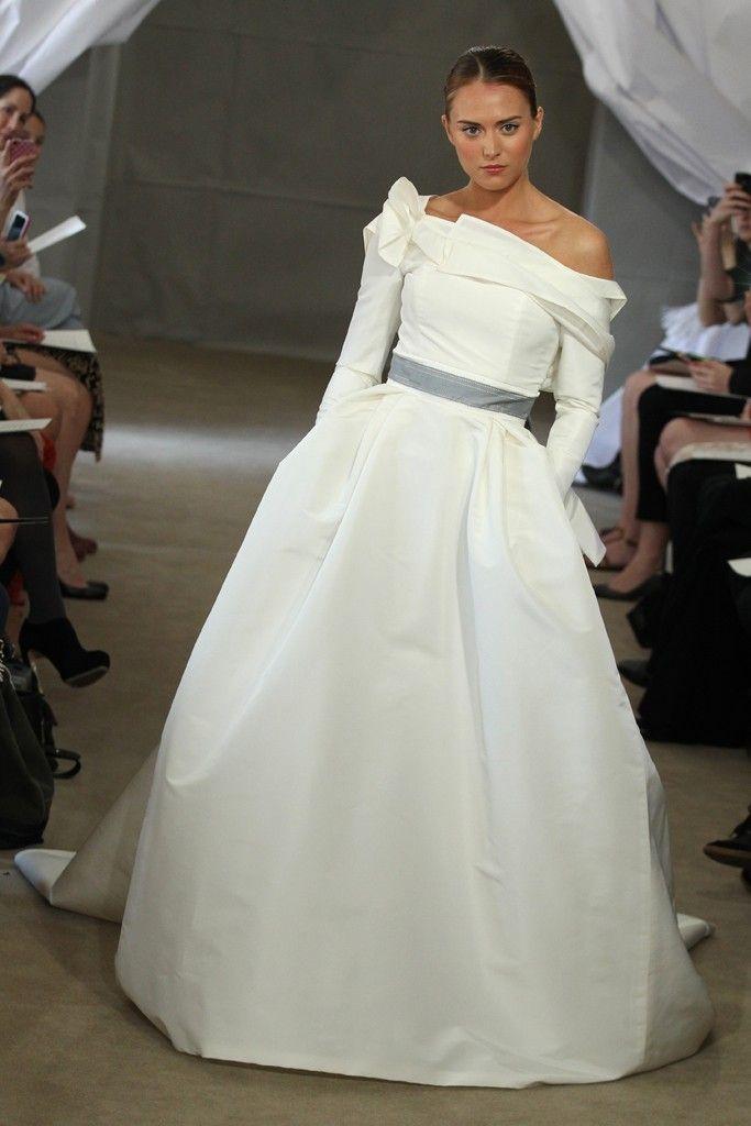 Spring 2013 bridal gowns Carolina Herrera wedding dress slate gray sash off the shoulder