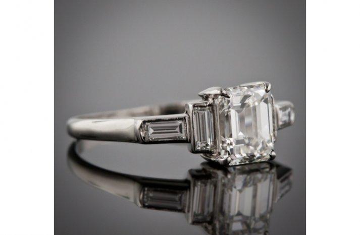 angelina jolie engagement ring emerald cut diamond engagement rings vintage 5