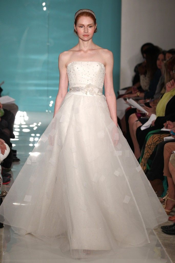 2013 wedding dress trend sheer necklines illusion fabric Reem Acra 9