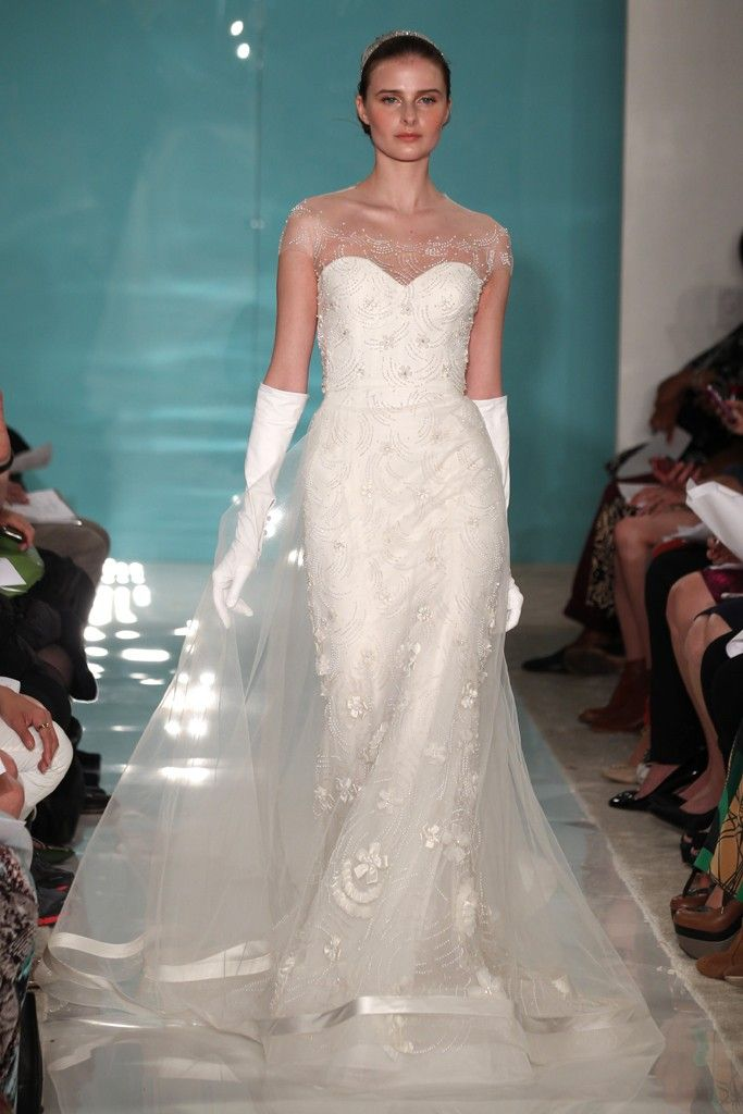 2013 wedding dress trend sheer necklines illusion fabric Reem Acra 4