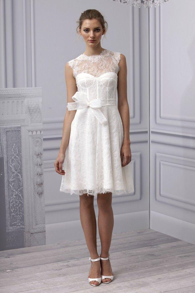 Spring 2013 wedding dress Monique Lhuillier bridal gown lace LWD illusion neckline corset