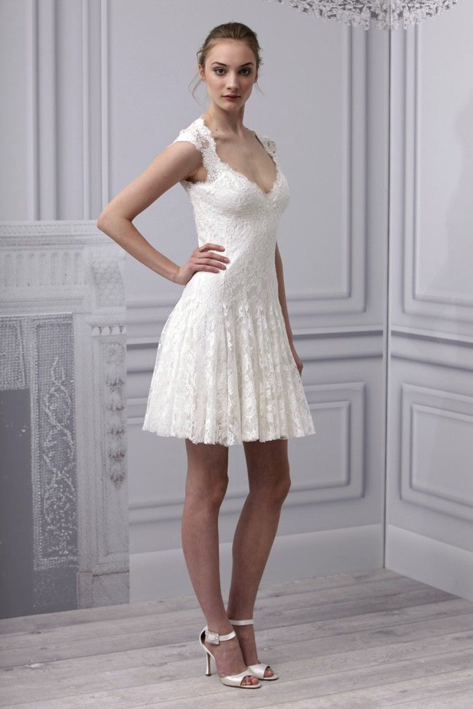 Spring 2013 wedding dress Monique Lhuillier bridal gown lace LWD deep v
