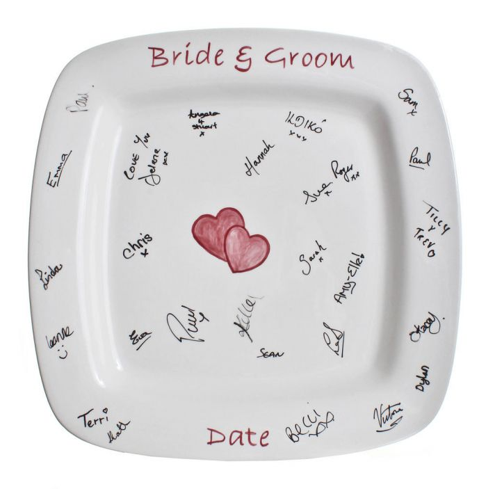 signature plate creative wedding guest book