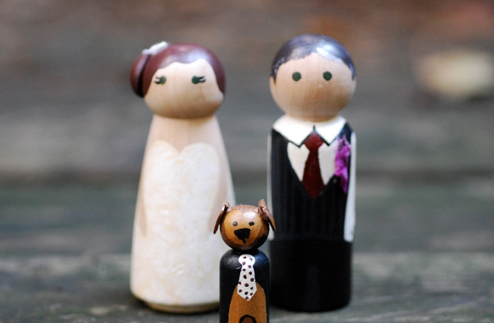 bride groom puppy wedding cake toppers