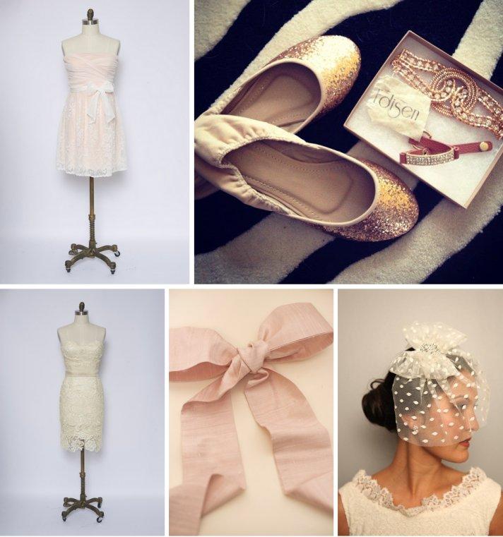 vintage wedding finds for romantic brides polka dot veil blush pink reception dress