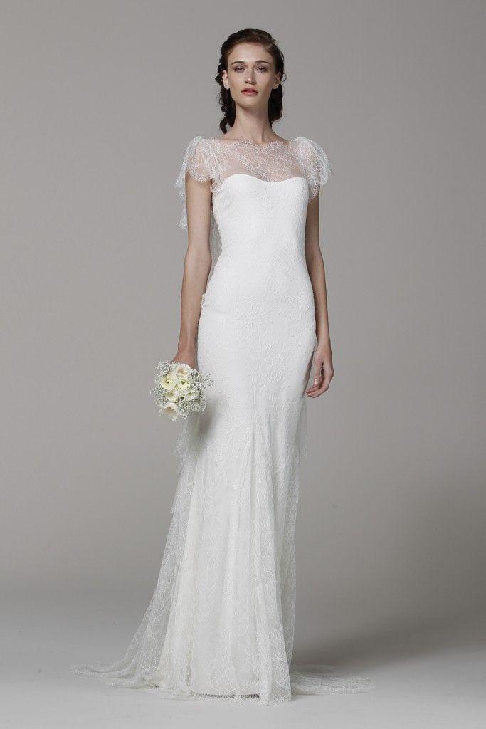 Marchesa wedding dress Spring 2013 bridal gowns lace illusion neckline
