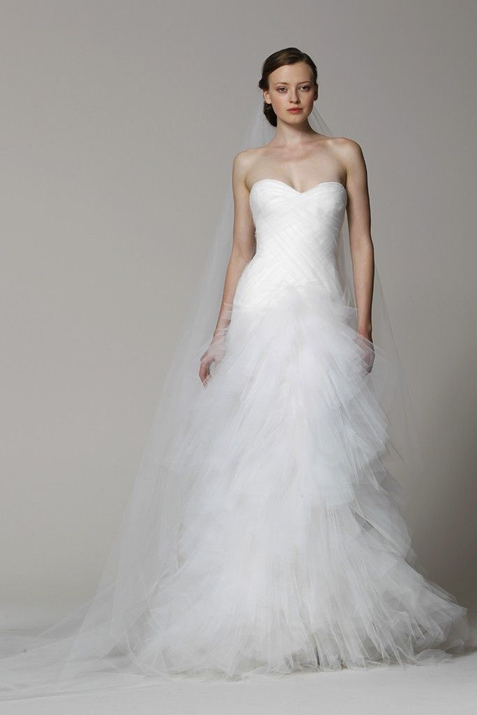 Marchesa wedding dress Spring 2013 bridal gowns pleated tulle mermaid