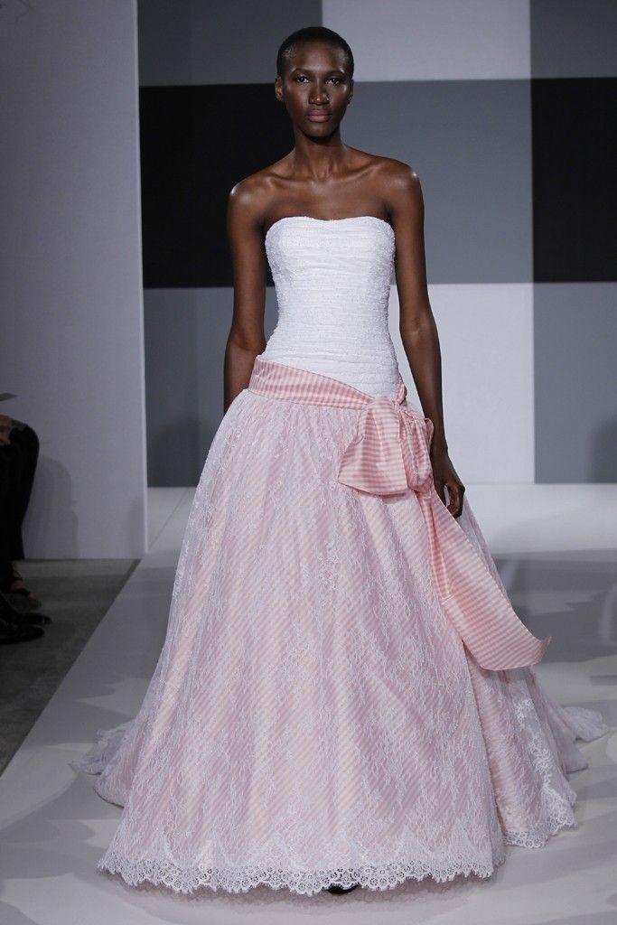 2013 wedding dress trend Issac Mizrahi bridal gown two tone blush pink white with striped sash