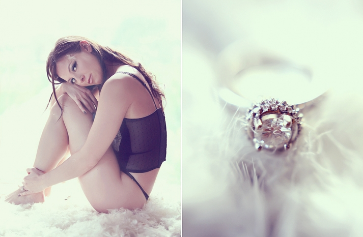 romantic wedding photography boudoir bridal shoot diamond engagement ring feathers