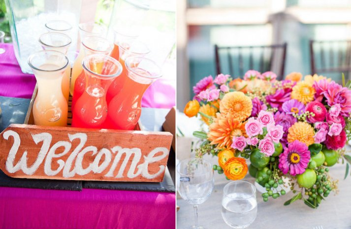 pink lemonade wedding color palette spring summer wedding flower ideas reception centerpiece cocktails
