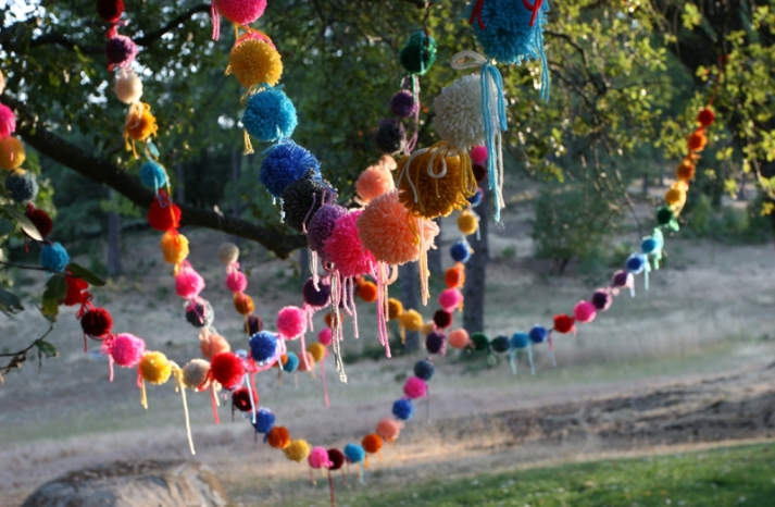 colorful wedding DIY projects pom pom banners 2