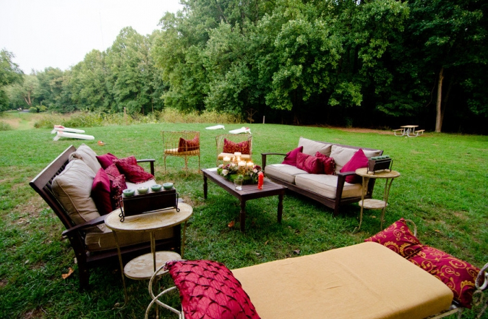 real wedding elegant outdoor lounge area