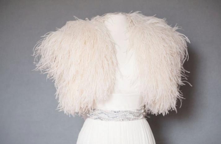wedding accessories ostrich feather bridal shrug