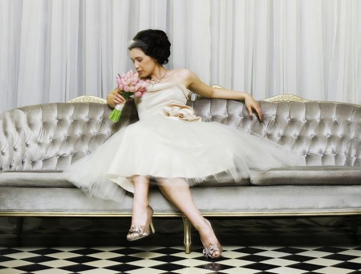 vintage inspired wedding dress tea length tulle