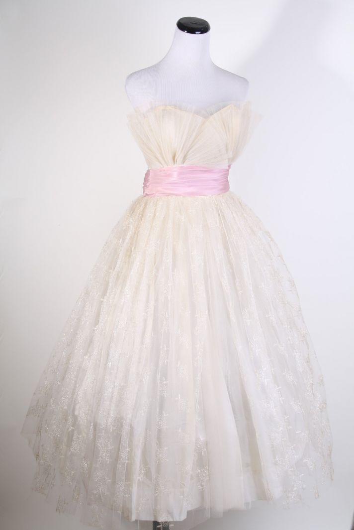 vintage tulle wedding dress 1960s mad men inspired pink sash