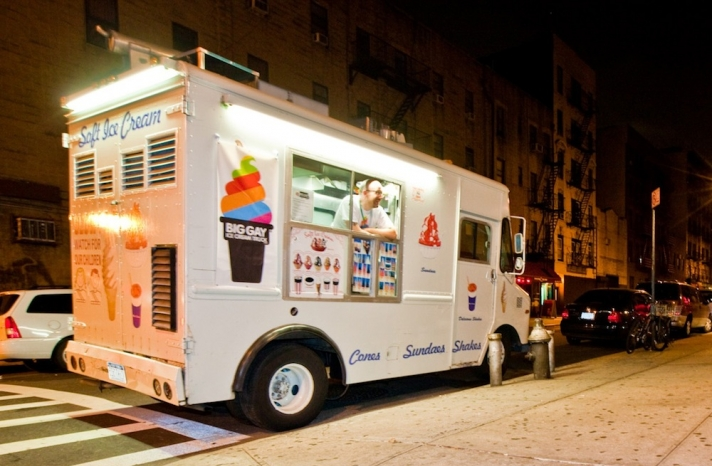 The Big Gay Ice Cream Truck at night