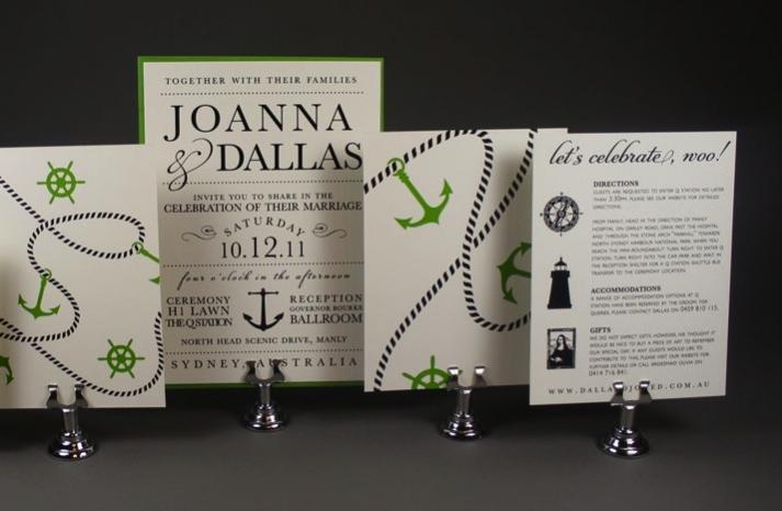 nautical wedding invitations ecru black green