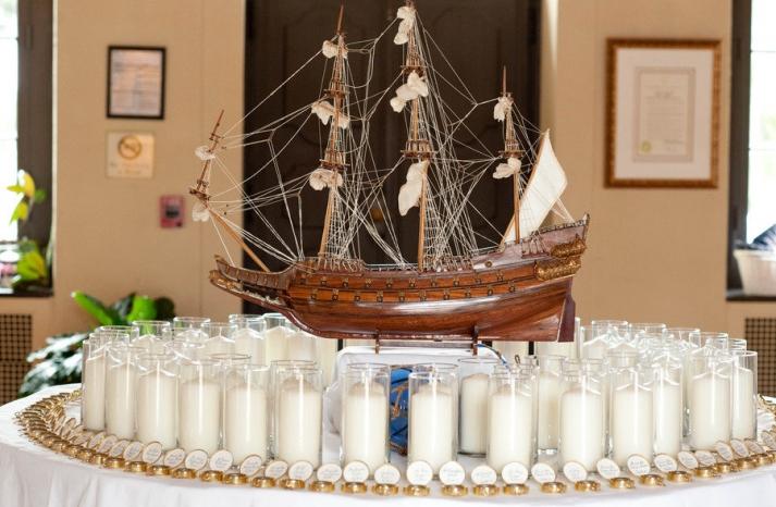 nautical themed real wedding escort card display