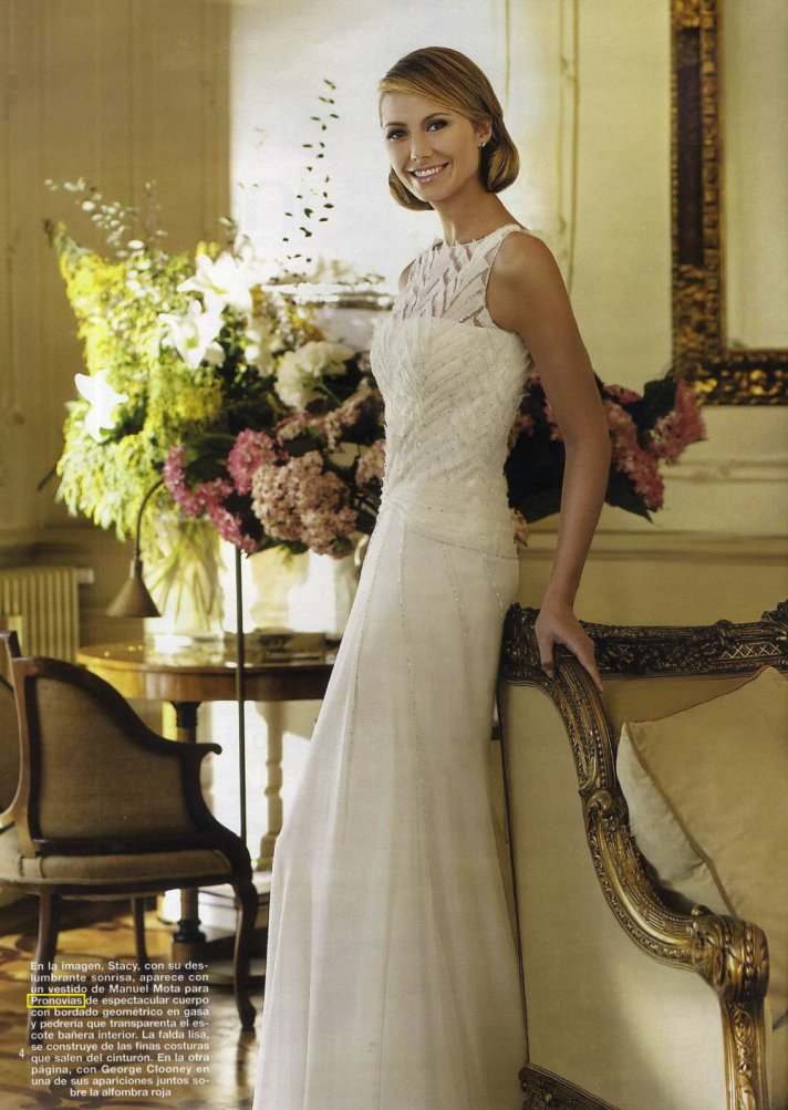 george clooney GF stacy keibler in wedding dresses by Pronovias Spring 2013 1