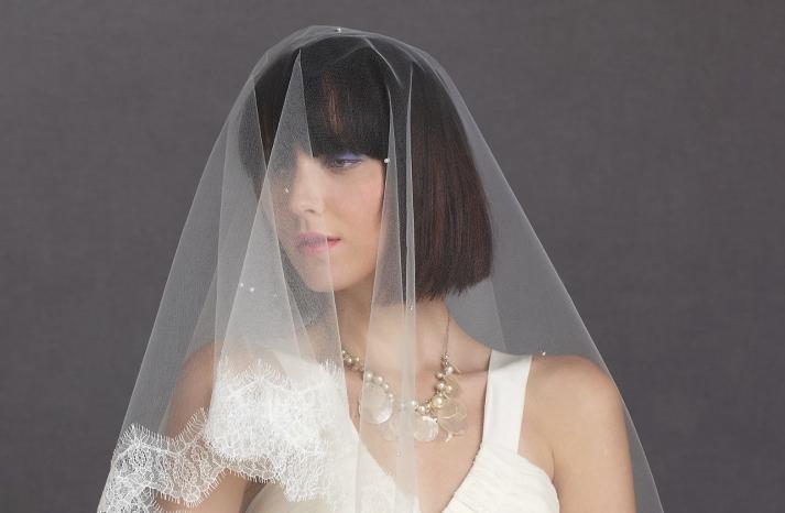 short wedding hair bridal bob romantic bridal veil BHLDN
