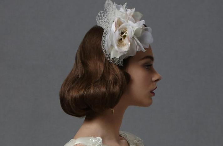 short wedding hairstyle vintage inspired brides BHLDN 3
