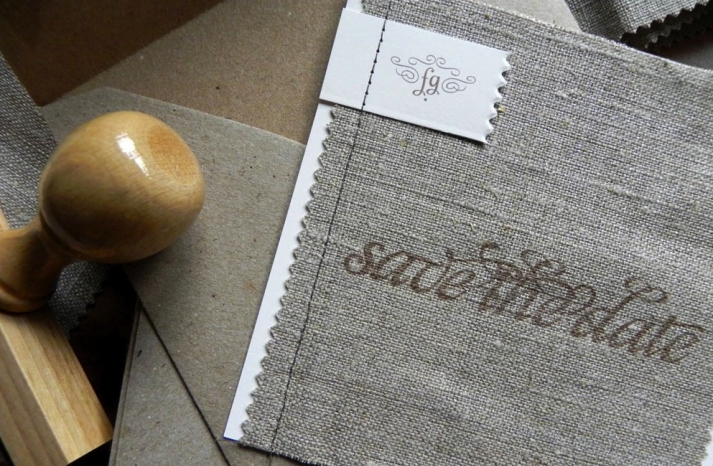 Linen Fabric Stitched Wedding Save the Dates