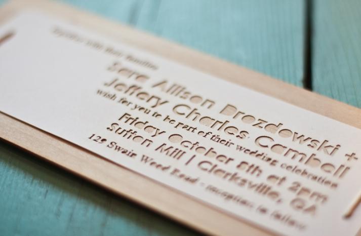 rustic wedding invitations laser etched wood wedding stationery 3