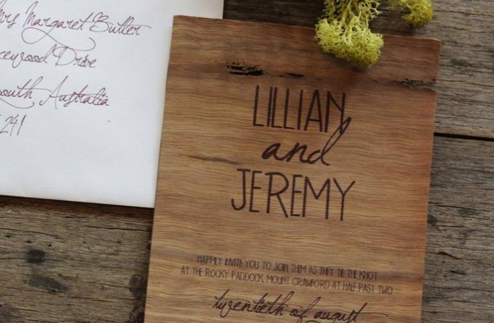 rustic wood wedding invitation earthy hand calligraphy