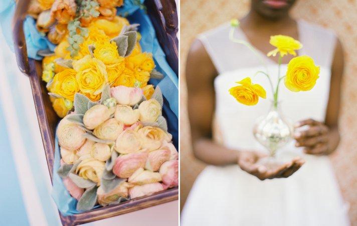soft pink yellow bridesmaid bouquet ranunculus