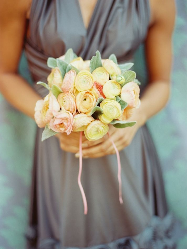 soft pink yellow bridesmaid bouquet ranunculus
