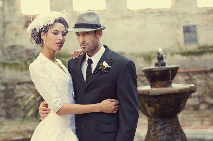 vintage bride and groom retro inspired wedding hats