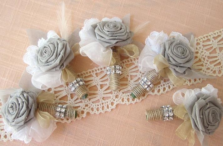 burlap lace feathers grooms boutonniere wedding flower alternatives