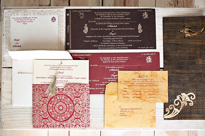 cultural real wedding Indian weddings Chicago IL gold red mahogony wedding invitations
