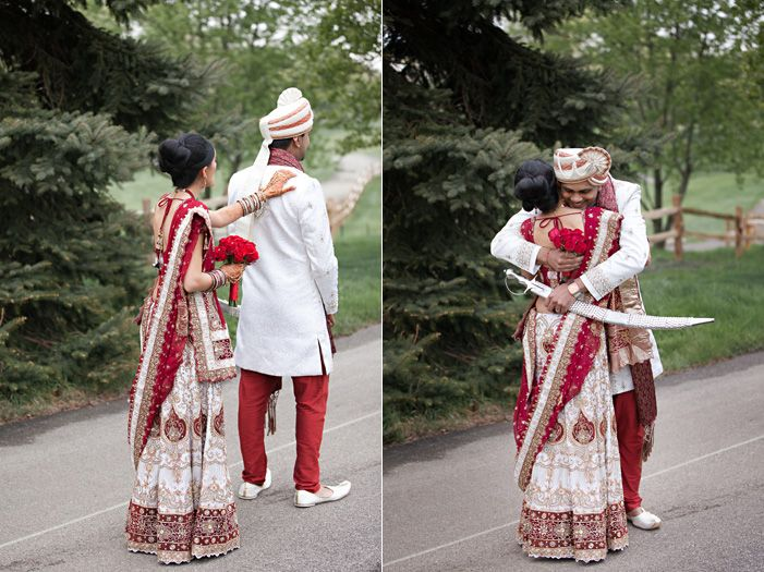 cultural real wedding Indian weddings Chicago IL gold red mahogony first look outdoor setting