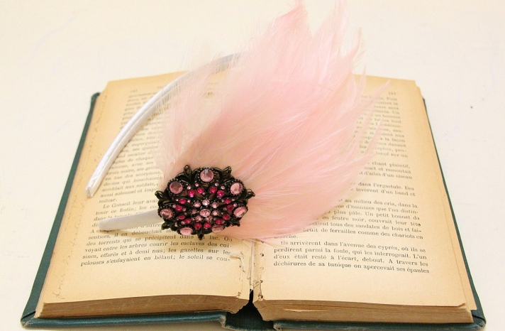 cotton candy pink bridal headband with feather fascinator