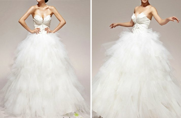 romantic wedding dress handmade bridal gowns tulle ball gown