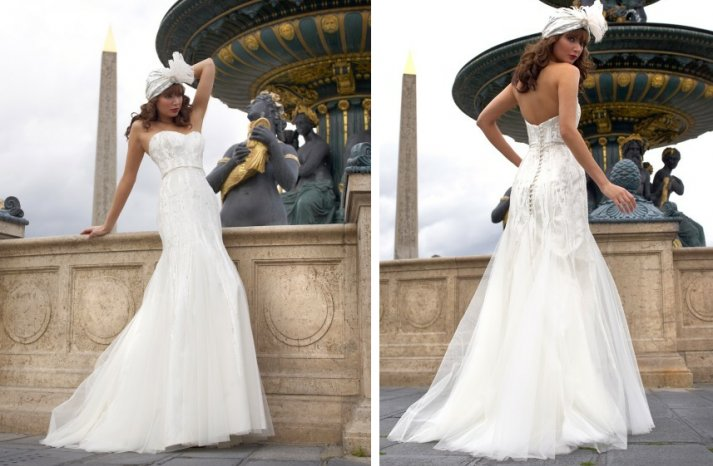 vintage inspired wedding dress stephanie allin fit and flare strapless