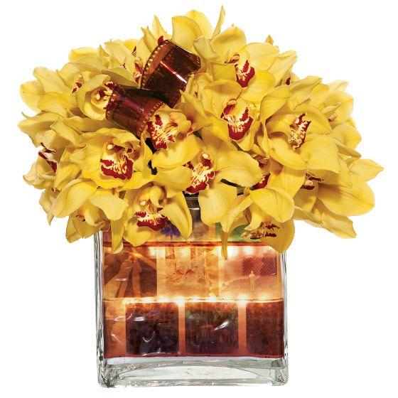 unique wedding centerpieces yellow Cymbidium orchids waterproof LEDs 120 mm 35 mm film