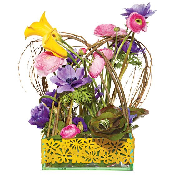 unique wedding centerpieces Galax leaves pussy willow lily grass calla lilies ranunculus anemones li