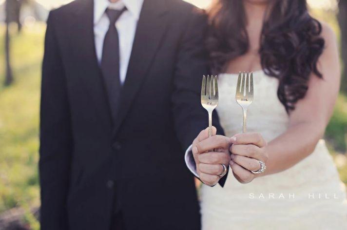 mr and mrs wedding cake forks etiquette for tastings