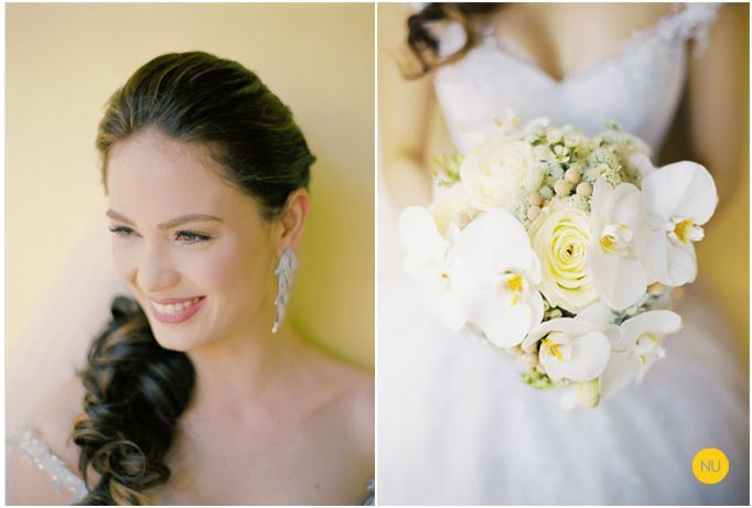 destination wedding in the phillipenes low pony bridal updo orchid bouquet