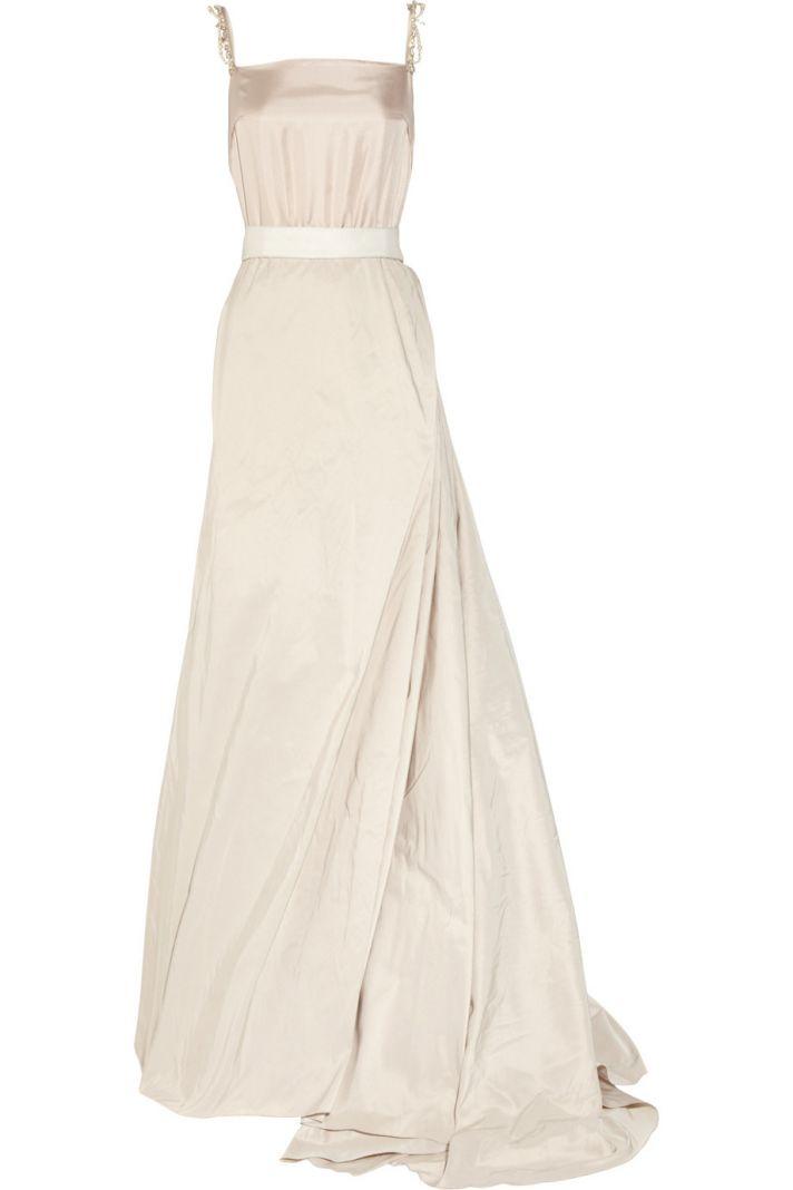 creamy Lanvin wedding dress square neck silk taffeta
