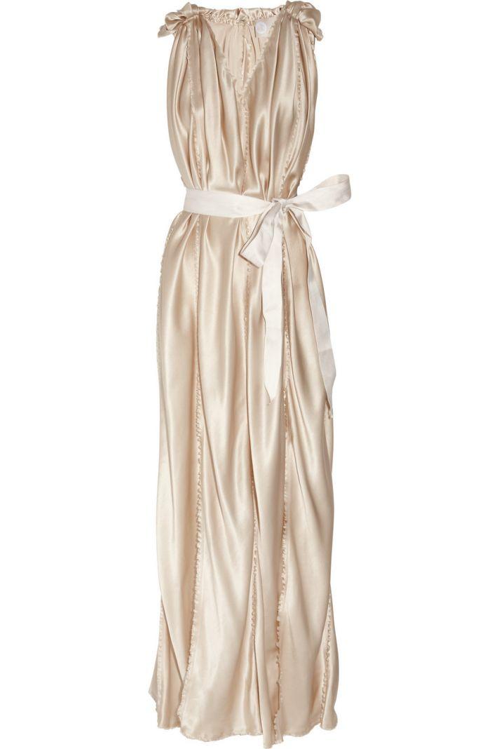 belted silk satin wedding dress champagne bridal gowns Lanvin