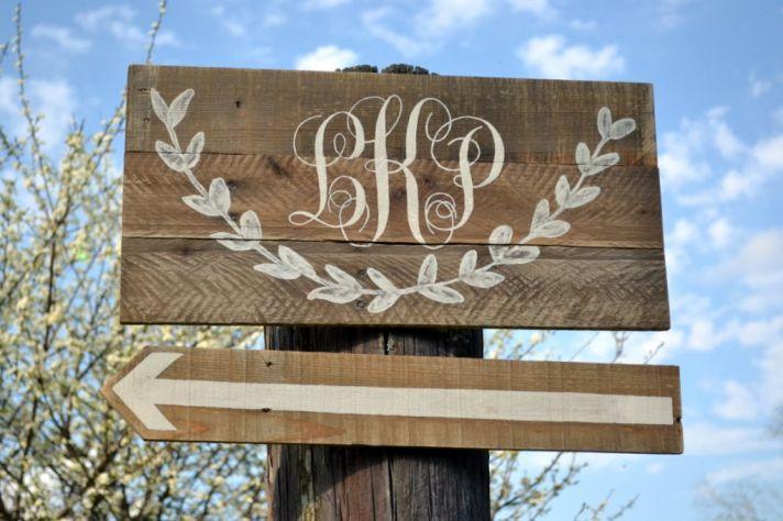 rustic wedding custom monogram on wood wedding sign