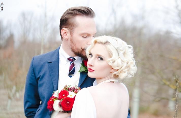 blonde bombshell vintage bride short wedding hair red lips