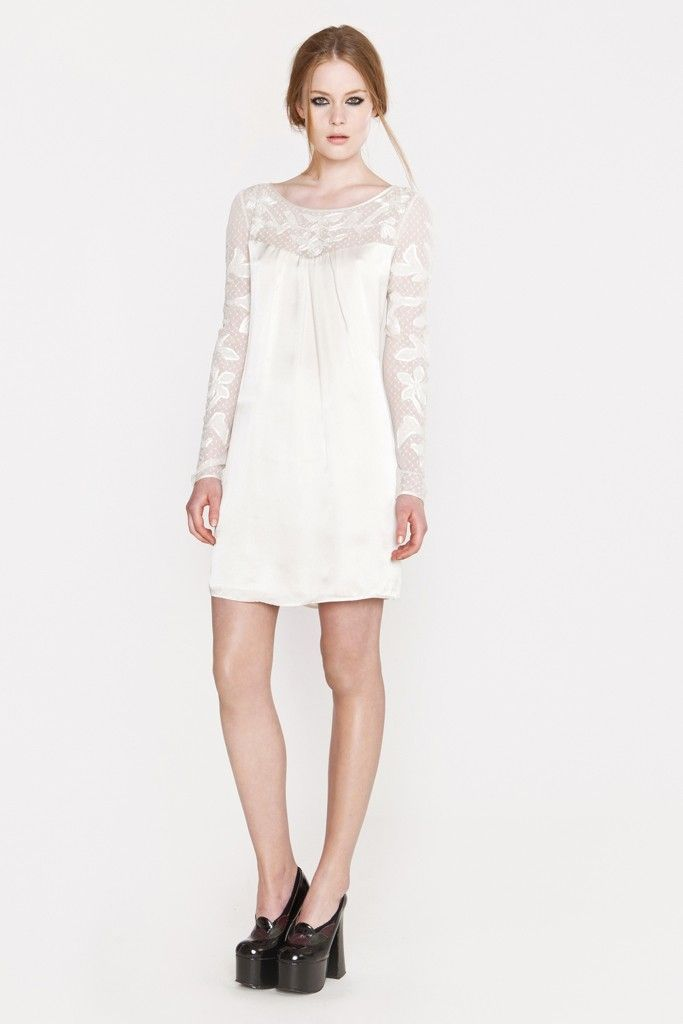 simple LWD for the wedding reception with sheer lace sleeves