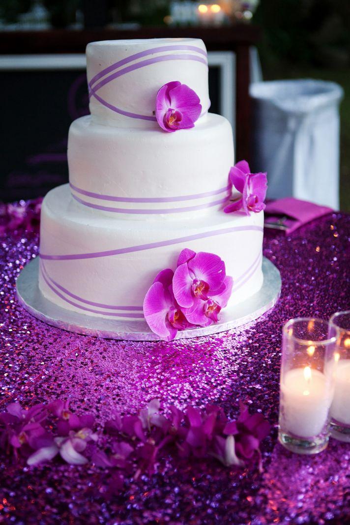 elegant winery wedding in Malibu classic wedding cake with fuschia orchids