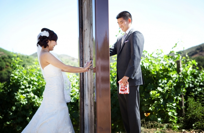 creative first look wedding photo outdoor weddings California 3