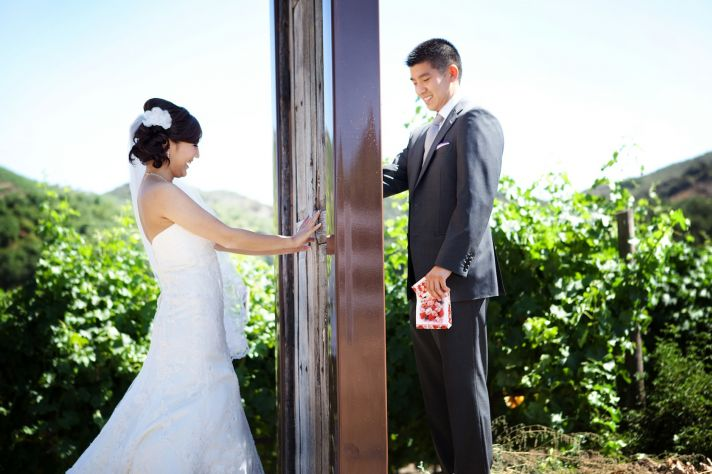 creative first look wedding photo outdoor weddings California 3